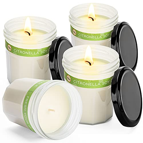 Citronella Candles Outdoor | Candles for Home Scented Relaxing Gifts for Women Housewarming Gift with Soy Wax and Lemongrass Essential Oils 160 Hour Burn Time, 7.5 Oz x4