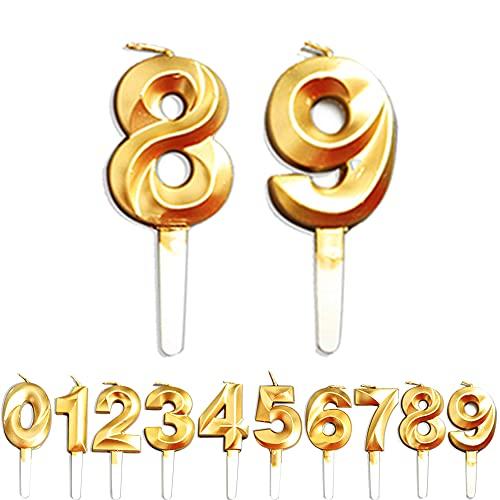 Numero di candele, 8/9/89/98 anni, decorazione per compleanno, numero di candele dorate, decorazioni per torte di compleanno, feste, matrimoni, anniversari, lauree, feste, consegne