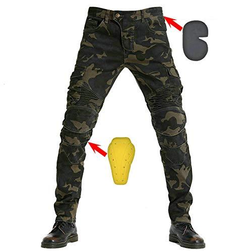 SHUOJIA Herren Motorradreithose JeansSportliche Motorrad Hose Mit Protektoren Motorradhose Mit Oberschenkeltaschen (Camouflage color,M)