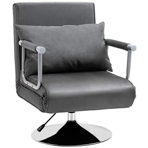 HOMCOM 3-in-1 Sofa Chair Single Bed with 5-Position Adjustable Backrest and Seat Height, Thick Sponge Padding with Pillow, Light Grey