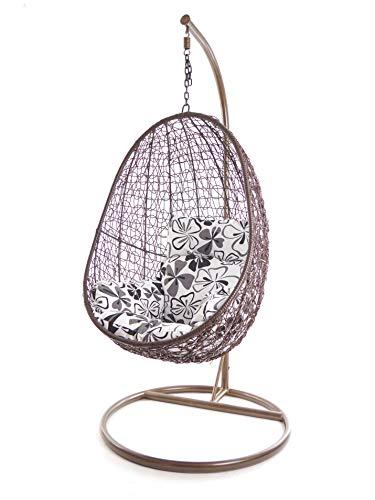 Kideo Juego completo: sillón colgante con estructura y almohada, sillón, color de la estructura y la cesta: marrón, cojín nido (cojines: flores en blanco y negro (9800 fósil Flower Love))