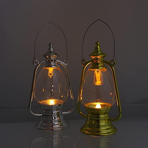 Holibanna 2 linternas LED, lámpara vintage, funciona con pilas, sin llama, decoración del hogar para Wohezimmer escritorio fotografía accesorios