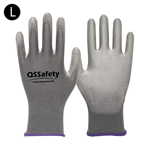 SASDA Gardening Gloves Women & Men 1 Pairs Nitrile Coated Garden Gloves Protect Against Cuts and Dirt Breathable Stretchable Nylon,gray L