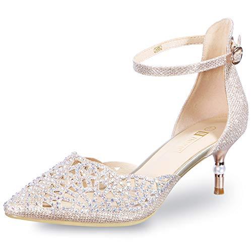 IDIFU Women's IN2 Candice Wedding Rhinestones Sequins Low Kitten Heels Pumps Dress Evening Shoes for Women Bridal Bride Gold 5 B(M) US