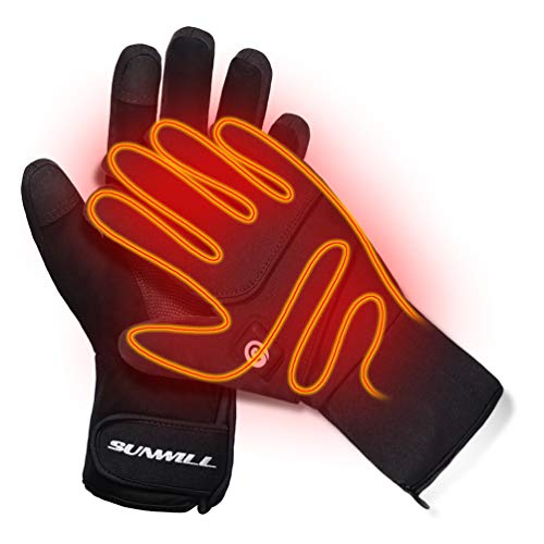 Heated Gloves,Men Women Rechargeable Electric Arthritis Hand Warmer Heated Ski Gloves Mittens, Snow Winter Warm Outdoor Cycling, Motorcycle, Hiking,...