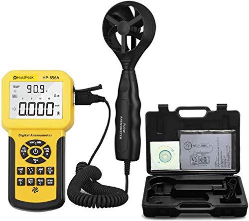 Anemometro Digitale Portatile CFM PRO Anemometro Misura La velocità del Vento,Il Flusso del Vento,La Temperatura del Vento per Misuratore di velocità del Flusso d'Aria HVAC con USB