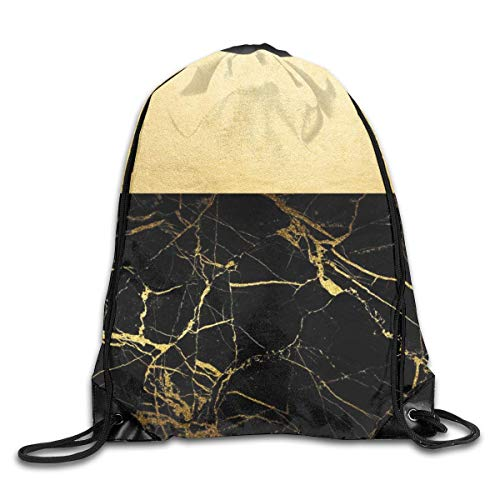 Lawenp Plegable Gold and Black Marble Drawstring Bag, Sports Cinch Sacks String Drawstring Backpack for Picnic Gym Sport Beach Yoga