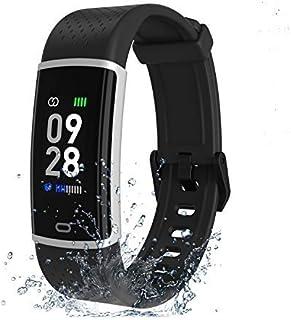 Fitpolo Reloj de fitness, pulsera de fitness con pulsómetro, pantalla a color, resistente al agua, rastreador de actividad, podómetro, reloj, recordatorio de mensajes, reloj inteligente para hombre y mujer, para iOS y Android
