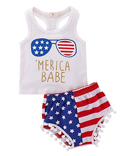 Baby Girls 4th of July Outfits,Summer Sleeveless T-Shirt Vest+US Flag Shorts Pants Clothes Set...
