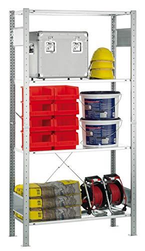 SCHULTE Lagertechnik MULTIplus Fachbodenregal 1800x1000x300 mm, Steckregal mit 4 Fachböden, Traglast je Boden bis zu 120 Kg (gesamt bis zu 480 Kg)