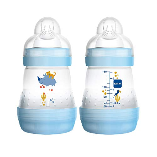 MAM Easy Start Anti-Colic Bottle 5 oz (2-Count), Baby Essentials, Slow Flow Bottles with Silicone Nipple, Baby Bottles for Baby Boy, Blue