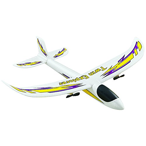Dromida Twin Explorer Twin Motor Radio Controlled Electric Powered Glider RC Airplane, White/Yellow/Purple