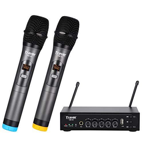 Travor Wireless Microphone with USB Echo & Bluetooth, UHF Metal Dual Channel Handheld Dynamic Bluetooth Microphone System for DJ Karaoke Party PA Singing Church Wedding Speaker, 260ft Range