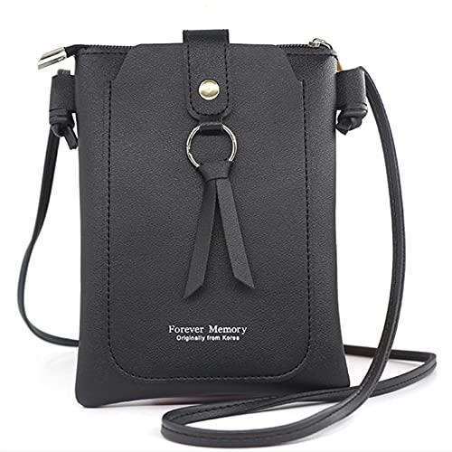 MAJFK Damen Reißverschluss Schulter Umhängetasche Damen Einfache PU Geldbörsen Kleine Quadratische Tasche Standard Geldbörse Brieftasche Handytasche Handtasche,Schwarz