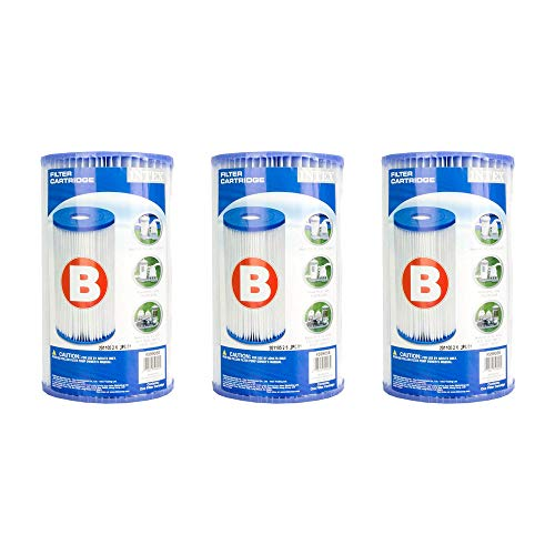 Intex B00LCIR3VS Pool Easy Set Type B Replacement Filter Pump Cartridge (3 Pack), 1 Pack, White