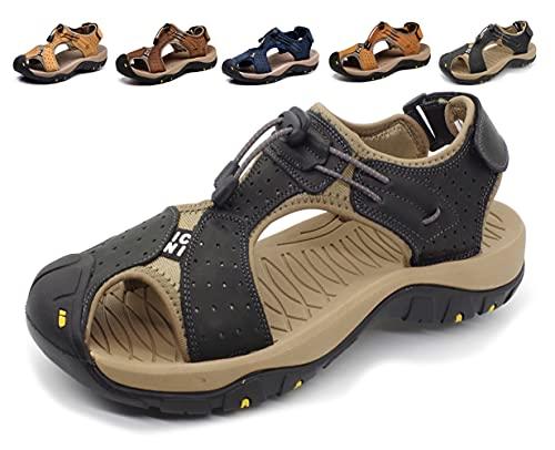 Sandalias Deportivas Hombres Verano Exterior Senderismo Zapatos Trekking Casual Zapatos de Montaña Cuero Sandalias de Playa,Azul (42/42.5 EU, Marrón Oscuro)