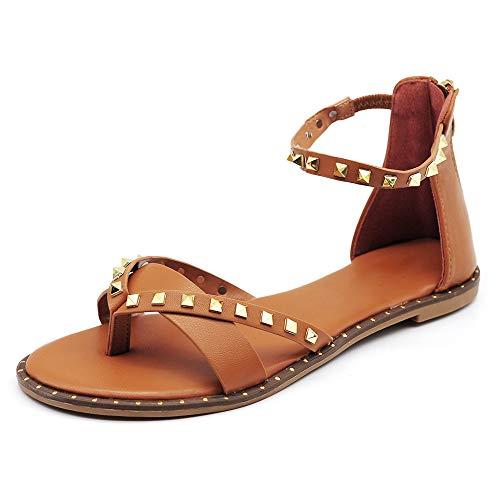 IF Fashion Scarpe Sandali Gladiatore Stivali Estivi da Donna con Borchie Pelle Sintetica S060136 Camel N.39