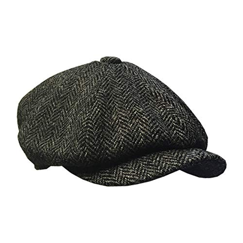 Carloway Baker boy cappello in Blu Navy Herringbone Harris Tweed Failsworth 3302