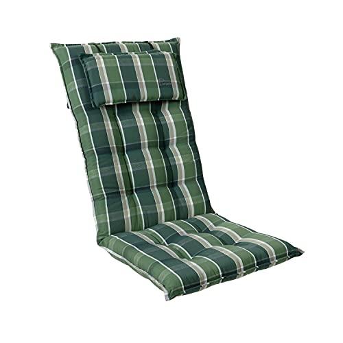 Homeoutfit24 Sylt - Cojín Acolchado para sillas de jardín, Hecho en Europa, Respaldo Alto con cojín de Cabeza extraíble, Resistente Rayos UV, Poliéster, 120 x 50 x 9 cm, 1 Unidad, Verde/Gris