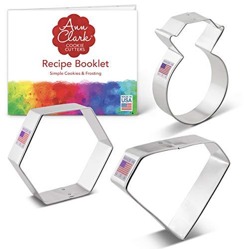 Ann Clark Cookie Cutters Juego de 3 cortadores de galletas gema/joya con libro de recetas, anillo, gema y diamante