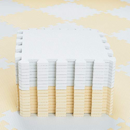 qqpp Alfombra Puzzle para Niños Bebe Infantil - Suelo de Goma EVA Suave. 18 Piezas (30 * 30 * 1cm), Blanco & Beige.QQC-AJb18N