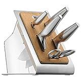 WMF Chef's Edition Messerblock mit Messerset 6teilig, Spezialklingenstahl, 4 Messer geschmiedet, Schere, Block-Bambus, Kunststoff, Edelstahl, Performance Cut - 2