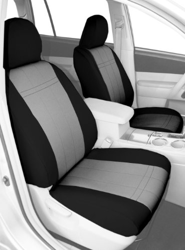 CalTrend Front Row Bucket Custom Fit Seat Cover for Select Toyota 4Runner Models - NeoSupreme (Light Grey Insert and Black Trim)