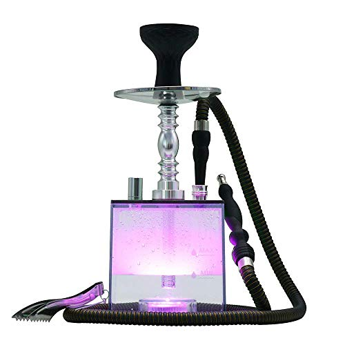Hookah Set KITOSUN Micro Modern Cube Acrylic Hookah with Silicone Hookah Bowl Leather Hose Coal Tongs Aluminum Stem with Diffuser Magical Remote LED Light for Better Shisha Hookah Narguile Smoking