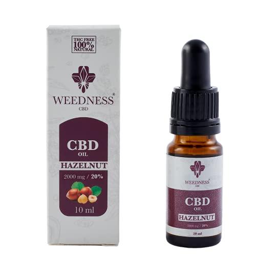 WEEDNESS CBD Oil 20% Hazelnut | Olio di CBD al 20% da coltivazione biologica Aroma di nocciola | 10ml con contagocce | Prodotto vegano senza THC | 100% biologico | A base di semi