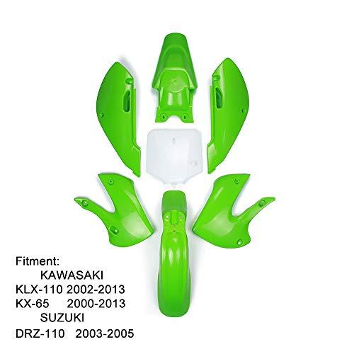ABS KLX110 Kit de carénage en plastique - Kit de travail de carrosserie de carénage de garde-boue pour Kawasaki KLX110 2002-2013 KX65 2000-2013 SUZUKI DRZ110 2003-2005 Dirt Pit Bike