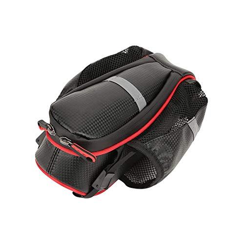 Bolsa para sillín de bicicleta con ruedas y cola para botella de agua, color rojo
