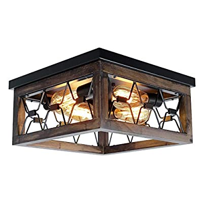 PUZHI HOME Farmhouse Wood Flush Mount Ceiling Light,Black Metal Rustic Close to Ceiling Lighting Industrial Square Wire Cage Ceiling Light Fixture for Farmhouse Kitchen Dining Room