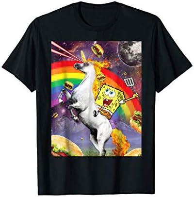 Spongebob SquarePants Unicorn Riding With Rainbow T Shirt product image