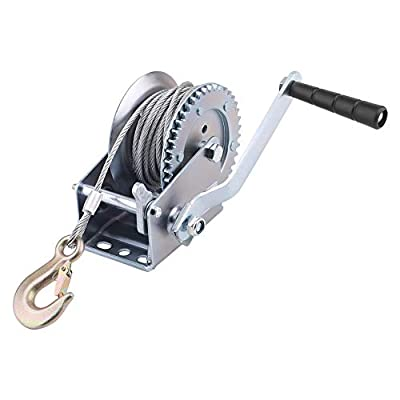 1000 lbs Hand Winch With Strap Cable Hand Crank Gear Winch With Automatic Brake Auto Manual Winch for ATV Boat Trailer