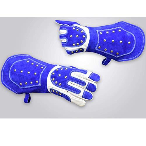 Bequeme Kratz- / bissfeste Schutzhandschuhe - Tierhandhabung Schutzhandschuhe zum Baden, Pflegen, Umgang mit Katzen und Anderen Kleintieren, 18-Zoll-Schutz (Farbe: Blau, Größe: L)