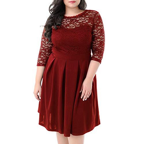 Oriention Damen Cocktailkleid Sexy Ärmellos Elegant 50er Jahre Rockabilly Kurz Kleid Große Größen Abendkleid Festliche Petticoat Kleid, Rot Lace, EU 50=TAG 4XL