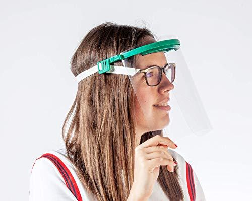 Pantalla Protección Facial - Pantalla Protectora Cara, Protector Facial, Visera Protectora - Visera Ajustable, Reutilizable, Ligera, ServalPharm Verde ⭐