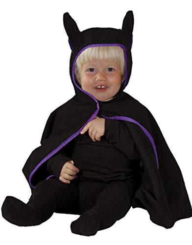 Foxxeo schwarzes Fledermaus Cape mit Kapuze für Babys Baby Kostüm Halloween Fasching Karneval Größe 80-86