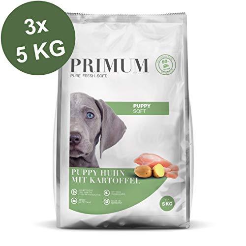 Primum | 15 kg | Halbfeuchtes Trockenfutter für Hunde | getreidefrei | Soft Puppy Huhn mit Kartoffel | Extra viel Fleisch | Optimal verdaulich | Herstellung in Deutschland