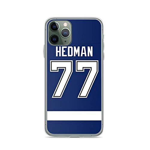 Yooan Lightning The Tampa Bay Victor Hedman Home Jersey Back Compatible con iPhone 12 Pro MAX 12 Mini 11 Pro MAX X/XS MAX XR SE 2020/8/7 6/6s Plus Caso Shockproof Protection Carcasa de telefono