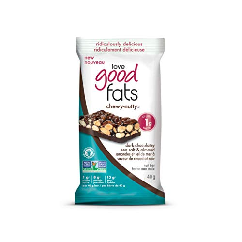 Love Good Fats Chewy Nutty Dark Chocolate Seasalt Almond Bars, Count-12, 480 g