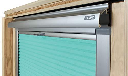 Home-Vision® Dachfenster Premium Plissee Faltrollo ohne Bohren Velux-kompatibel (Türkis für MK06 - Silber) Blickdicht Sonnenschutz, Alle Montage-Teile inklusive