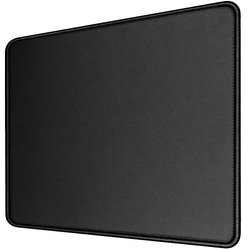 [35% Larger] Gaming Mouse Pad 12x10x1/8. Delicate Stitched Edges & Non-Slip Natural Rubber Base, Premium-Textured & Waterproof Mousepad, Mouse Mat for Computer, Laptop, PC, Office & Home, Black