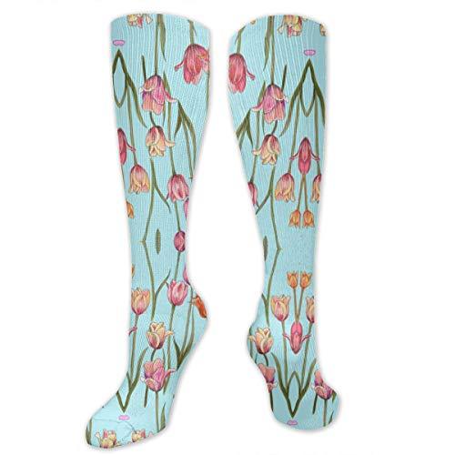 Klasl5-id Holland Tulips On Tiffany Blue Wallpaper (8133) Compression Socks for Women and Men - Best Medical,for Running, Athletic, Varicose Veins, Travel