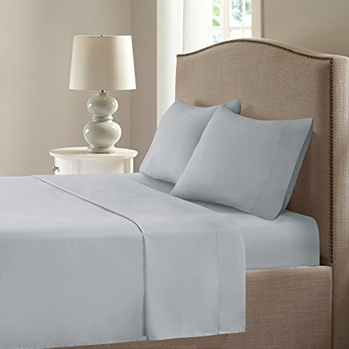 """Comfort Spaces Coolmax Moisture Wicking Set Super Soft, Fade Resistant, 17"""" Deep Pocket, All Around Elastic Warm Weather Cooling Sheets For Night Sweats, Queen, Grey 4 Piece"""