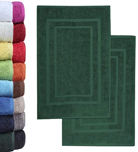 NatureMark 2er Pack Badvorleger Badematte | Premium Qualität | 100% Baumwolle | 50 x 80 cm | Duschvorleger Duschmatte Doppelpack | Farbe: Dunkel grün