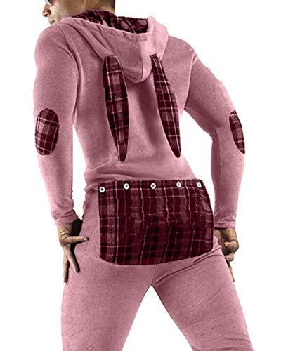 Men's Sexy Hoodie Pajamas Onesie Butt Flap Jumpsuit Long Sleeve Leotard One Piece Sleepwear Novelty...