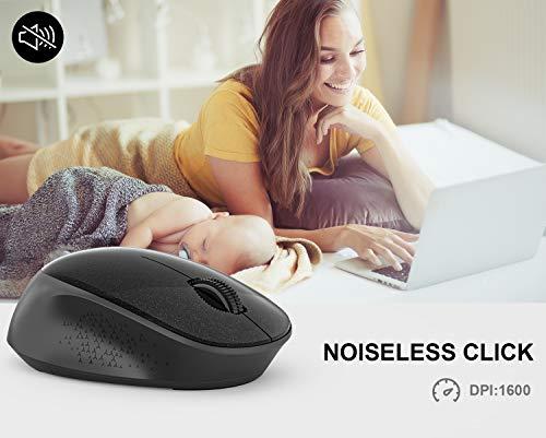 WisFox Ratón Inalambrico, Ratón Silencioso 2.4G con USB Nano Receptor de Computadora Portátil para Computadora Portátil… 2