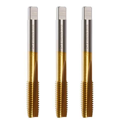 YXQ M10 x 1.5mm Tap Machine Metric Right Hand Thread 3 Straight Flute Taps Taper and Plug 3Pcs