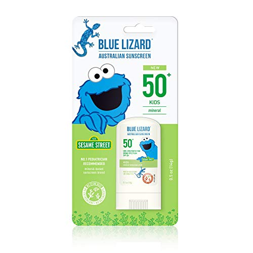 Blue Lizard Kids Mineral Sunscreen Stick with Zinc Oxide, SPF 50+, Water Resistant, UVA/UVB Protection - Easy to Apply, Fragrance Free.5 oz